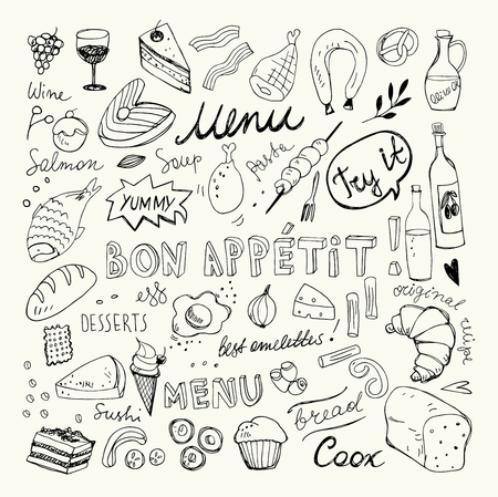 Restaurant Doodle Set. Hand Drawn Vector Illustration. Pencil Drawing. Bon Appetit Food Collection