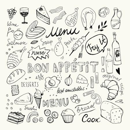 Restaurant Doodle Set. Hand Drawn Vector Illustration. Pencil Drawing. Bon Appetit Food Collection