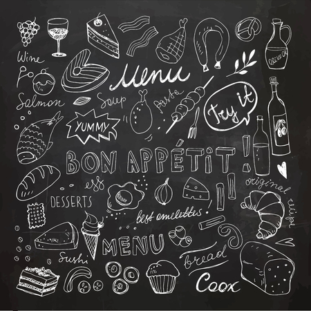 Restaurant Doodle Set. Hand Drawn Vector Illustration. Chalk Drawing. Bon Appetit Food Collection