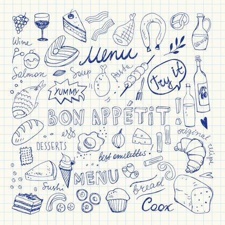 Restaurant Doodle Set. Hand Drawn Vector Illustration. Pen Drawing. Bon Appetit Food Collection
