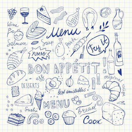Restaurant Doodle Set. Hand Drawn Vector Illustration. Pen Drawing. Bon Appetit Food Collection