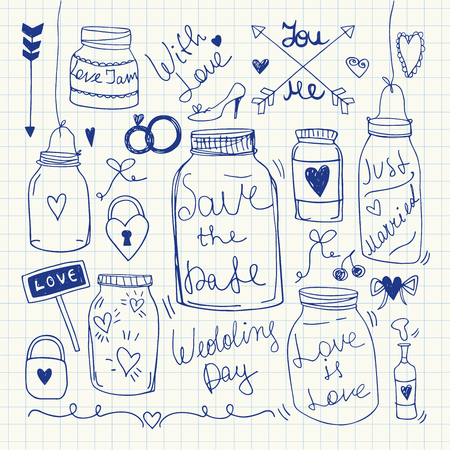 Doodle set of hand-drawn Wedding elements. Vector Illustration. Invitation and Card Collection