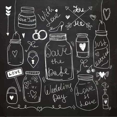 Doodle set of hand-drawn Wedding elements. Chalkboard Vector Illustration. Invitation and Card Collection