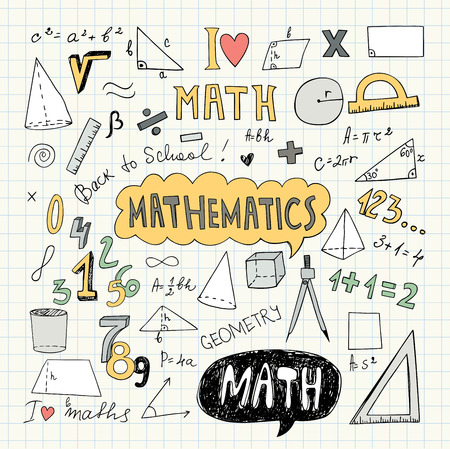 Hand Drawn Mathematical Doodle Handwriting Elements. School Education Background. Vector Illustration. Pencil Drawing.