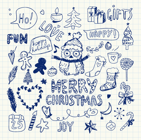 Christmas Doodle Collection, Vector Illustration. Pen Drawing