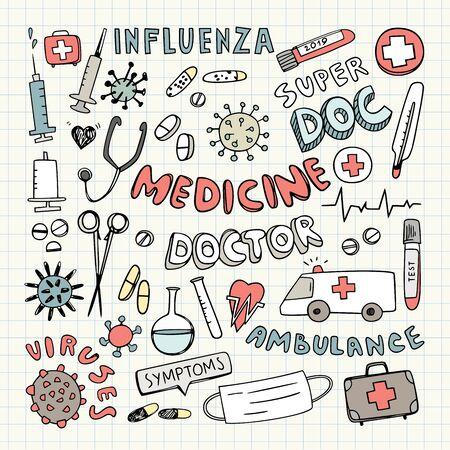 Medical Vector Doodles, Doctor Clipart, Medicine Signs