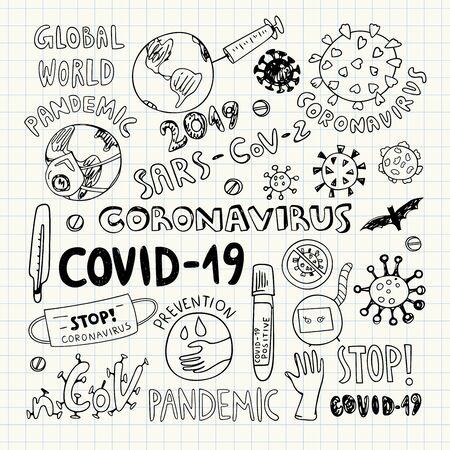Concept of coronavirus clipart vector illustration. Coronavirus global pandemic illustration. Virus doodles Illustration