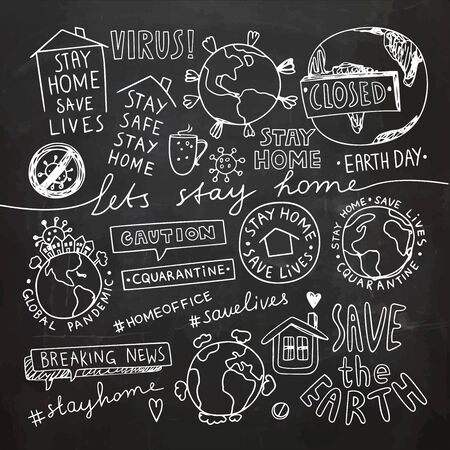 Stay Home Stay Safe Quote Concept. Earth Day Illustration.Vector Illustration. Quarantine Lockdown doodles.