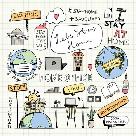 Stay Home Stay Safe Quote, Home Office Illustration, Concept, Earth Day Vector Illustration, Quarantine Lockdown doodles, Social Distancing, Work from home. Illustration