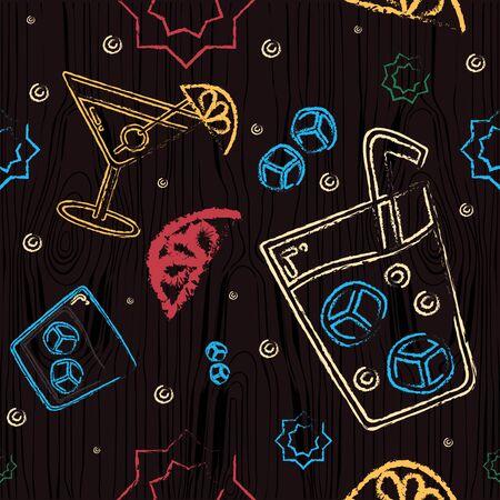Pattern with alcohol bar symbols. Alcohol glasses vector. Drawn free hand on a chalk board, jagged edges. Martini, champagne, cocktail, brandy, margarita, hurricane glass, ice, lemon Ilustração