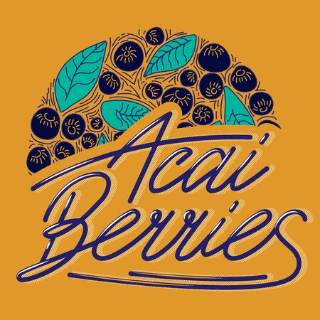 Circle concept berries acai vector line. hand drawing, funny doodles on a dark background with lettering. Illustration
