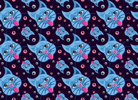 Vector illustration. Seamless pattern with cat face with protruding tongue and eyeballs. Occult Symbols. On a dark gloomy background. 向量圖像