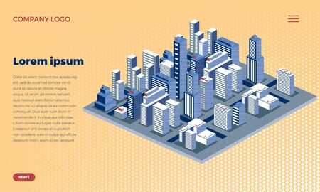 Web site design concept. Isometric city metropolis. Urban architecture with skyscrapers, houses and streets. The landscape of the city. With place for text. Vetores
