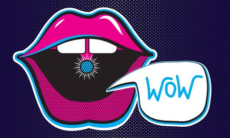 Stickers of open mouth.Cheeky lips of a girl with bubble. Juicy neon illustration on a dark blue background. vector isolated elements.  イラスト・ベクター素材