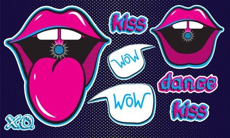 Stickers of open mouth with tongue.Cheeky lips of a girl. Handwritten lettering. Juicy neon illustration on a dark blue background. vector isolated elements