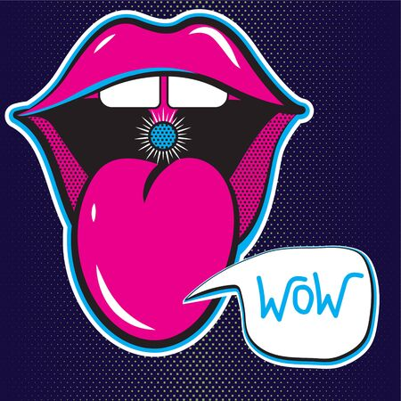 Stickers of open mouth with tongue.Cheeky lips of a girl with bubble. Juicy neon illustration on a dark blue background. vector isolated elements