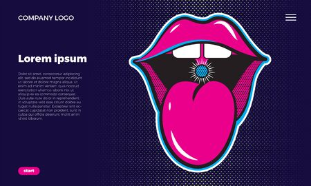 Web site concept. Open mouth with tongue. Cheeky lips of a girl. Juicy neon illustration on a dark blue background. with place for text.