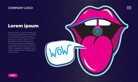 Web site concept. Open mouth with tongue. Cheeky lips of a girl with a bubble. Juicy neon illustration on a dark blue background. with place for text.  イラスト・ベクター素材
