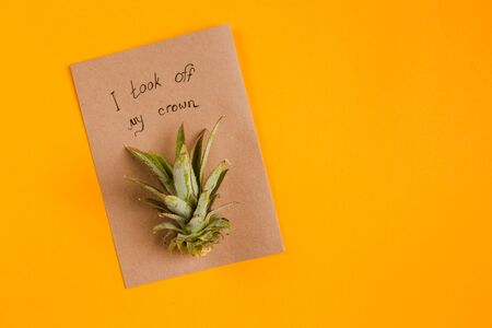 creative tropical greeting cards with pineapple crown with note I took my crown off
