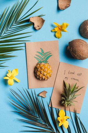creative tropical greeting cards with pineapple and its crown with note I took my crown off
