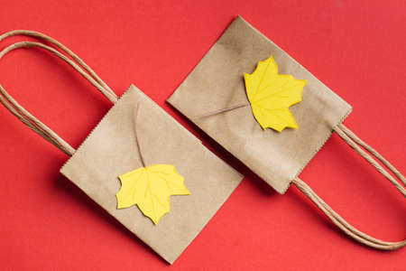 small paper bags with paper craft maple leaves autumn sale concept