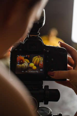 Autumn still life with pumpkins. Studio photo. Photo on the display of the camera 스톡 콘텐츠 - 153967167