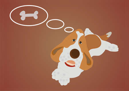 Charming dog dreaming about bonelet  Vector