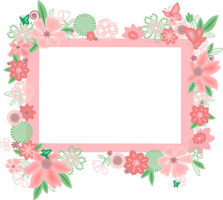 Frame with abstract flowers and butterflies