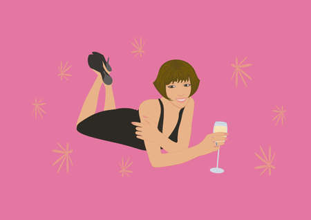 sexual pleasure: Woman with glass of sparkling wine  Illustration