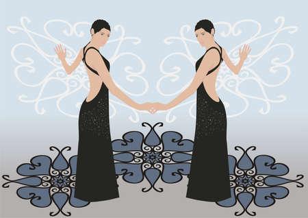 robes de soir�e: Les belles femmes en robes de soir�e noires Illustration