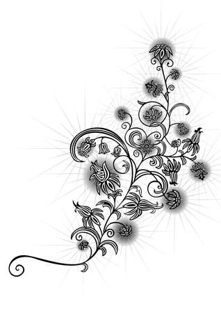 Illustration of an abstract black and white floral ornament