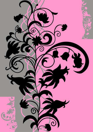 Abstract floral ornament in black, pink and grey colors