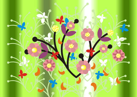 Illustration of abstract floral ornament and background