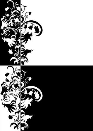 Illustration of abstract floral ornament in black and white colors  Illustration