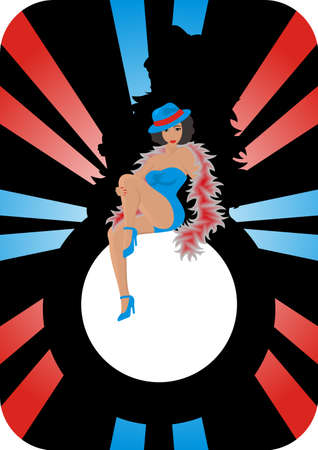 Illustration of a beautiful and sexual cabaret lady Illustration