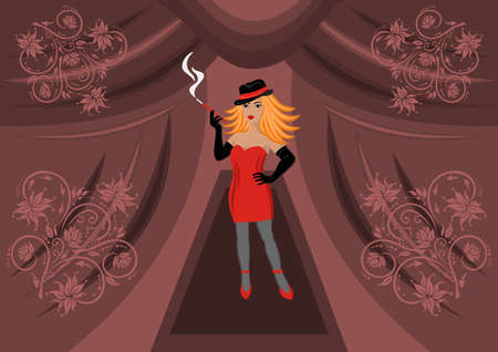Beautiful sexual girl smoking a cigarette with background Vector