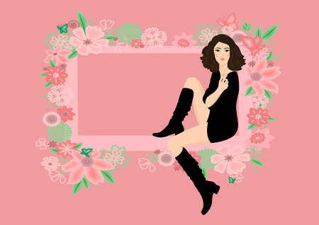 Beautiful woman in boots framed by abstract floral ornament