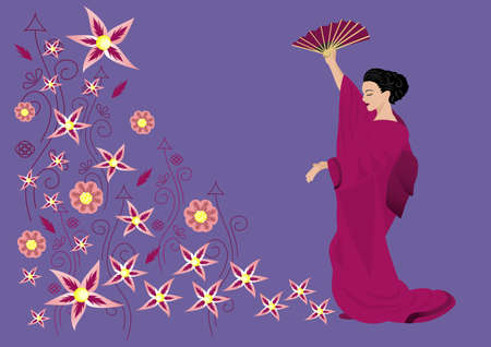 Illustration of abstract ornament and beautiful woman in kimono