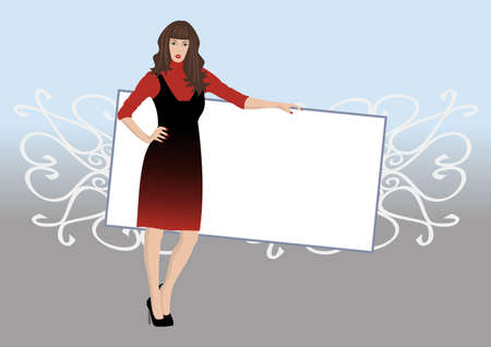 harmonous: Illustration of a beautiful young woman posing with poster