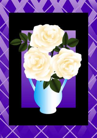 Illustration of a cream rose in a blue vase