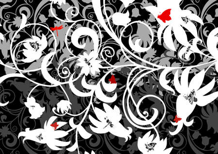 Abstract floral ornament with butterflies and dragonflies  Vector