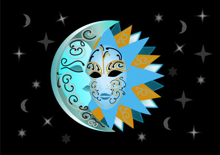 Illustration of abstract sun and moon mask