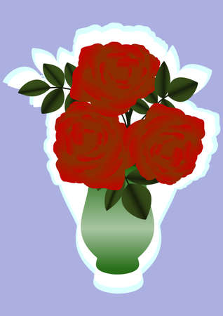 Illustration of red roses in a green vase