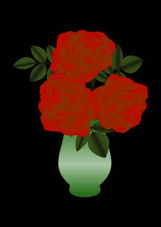 Illustration of red roses in a green vase  Illustration