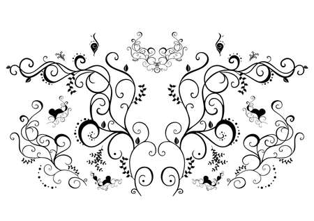 Abstract black floral ornament Illustration