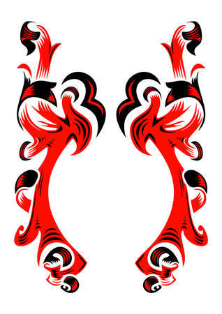 Abstract ornament in black and red colors Illustration