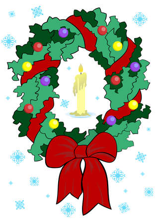 Illustration of christmas wreath with candle