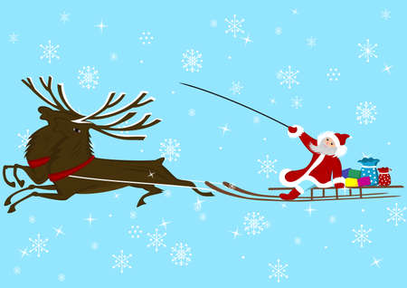 Illustration of Santa Claus and reindeer Vector
