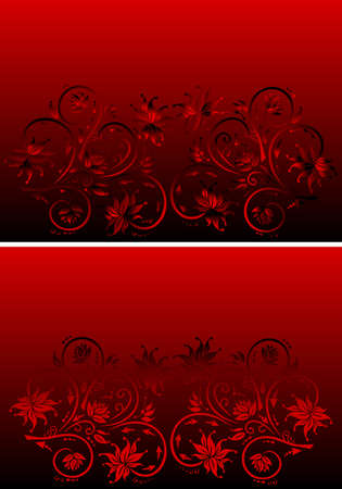 Illustration of abstract floral red and black ornament Illustration