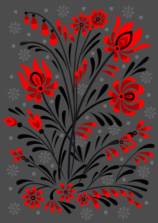 Abstract floral ornament in red and black colors Vector